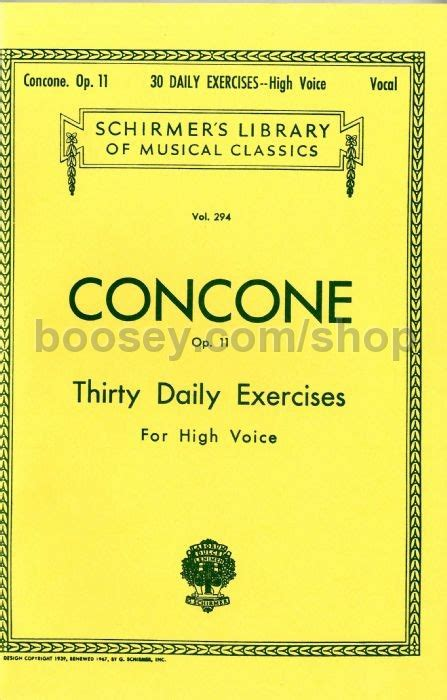 Giuseppe Concone Thirty Daily Exercises Op 11 For High