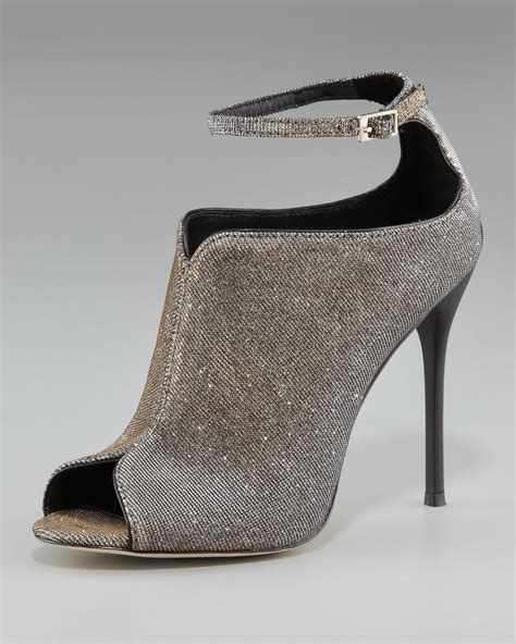 Shoe La La Silver Ankle Boots For by Lyst B Brian Atwood Sparkly Ankle Peep Toe Bootie