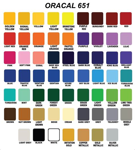 oracal 651 vinyl color chart 12x24 oracal 651 glossy vinyl crafts hobby