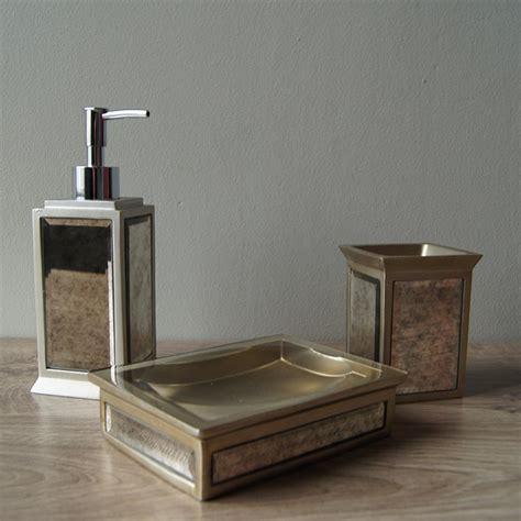 Vintage Glass Bathroom Accessories Antique Glass Bath Accessories Set Of 3 Palmerhaus