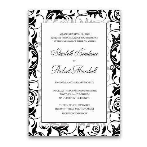 Damask Wedding Invitations by Damask Wedding Invitations Black And White Swirls