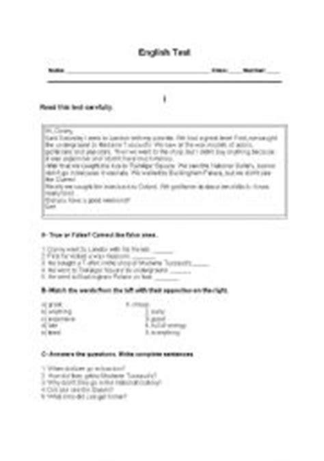 English Test 7th Grade Travelling Esl Worksheet By