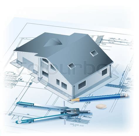 building drawing tool architectural background with a 3d building model drawing tools and rolls of drawings vector
