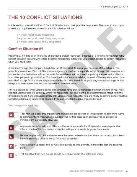 self assessment report template conflict strategies inventory self assessment