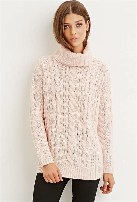 Cable Knit Sweater lyst forever 21 cable knit turtleneck sweater in pink