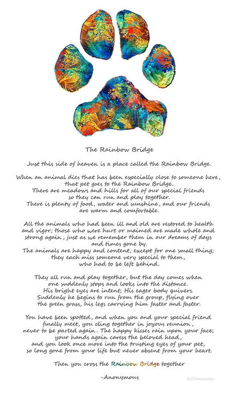 rainbow bridge coloring page dogs rainbowbridge rainbow bridge poem with colorful paw