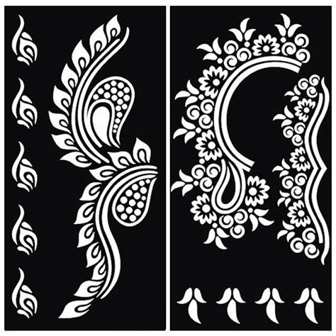 colora mehndi henna temporary tattoo kit with stencils 8pcs henna stencil for glitter template