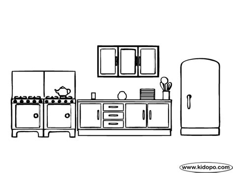 coloring page of a kitchen kitchen coloring page