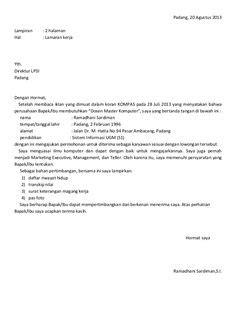 surat lamaran kerja fresh graduate bahasa indonesia