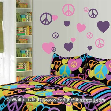 peace sign bedroom decor peace signs and hearts vinyl wall decals childrens decor