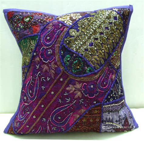 Handmade Throw Pillows - decorative vintage handmade beaded embroidery throw pillow