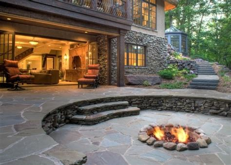 Flagstone Patio With Firepit Patio Designs With Pit And Tub Home Citizen