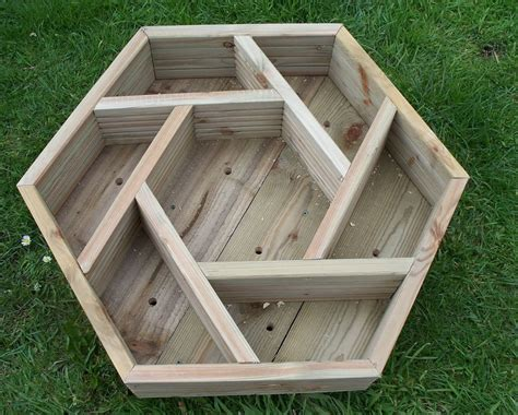 Wooden Herb Wheel Planter by Wooden Herb Wheel Planter Wood Trough Timber Hexagonal