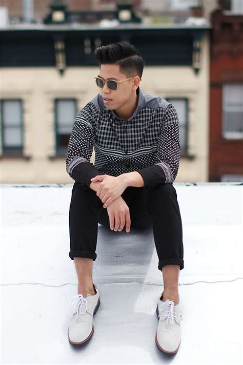 wearing white suede derby shoes by oh anthonio menswear