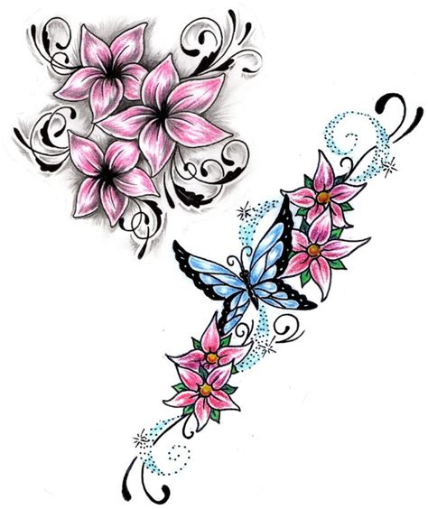 small tribal flower tattoos small pink flowers n butterfly design tattoos