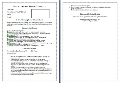Security Guard Resume Template By Formsword Security Guard Schedule Template
