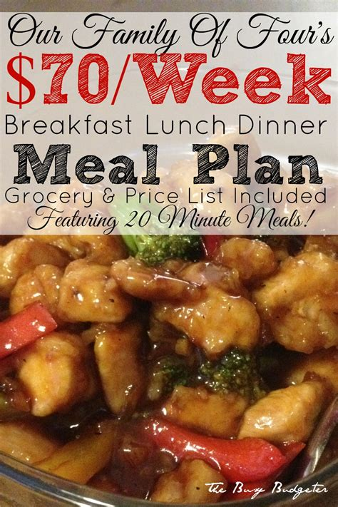 our 70 week meal plan for a family of four of 20 minute - Inexpensive Dinner Menu