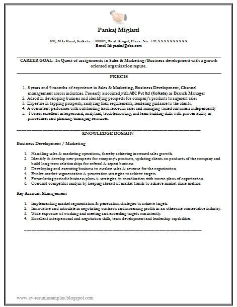 marketing resume exle with free 1 career
