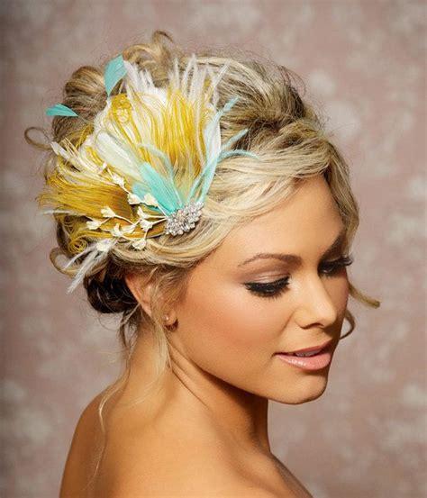 yellow hair accessories wedding mustard yellow bridal peacock feather wedding