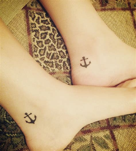 cute sister tattoos matching anchor tattoos the ankle