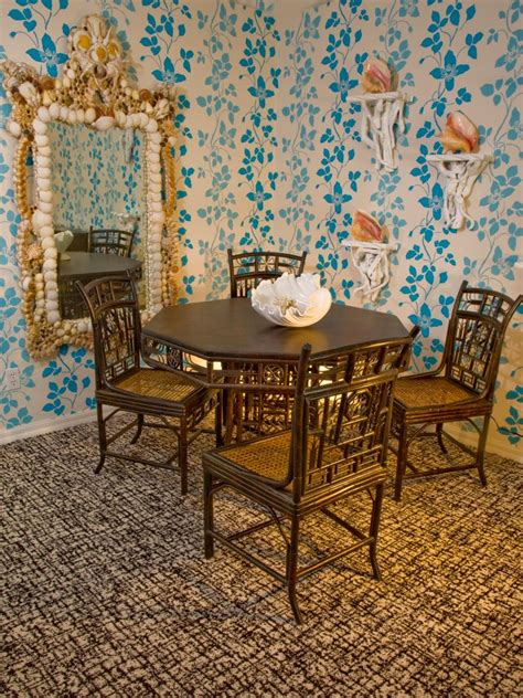 blue tropical dining room  bamboo furniture hgtv