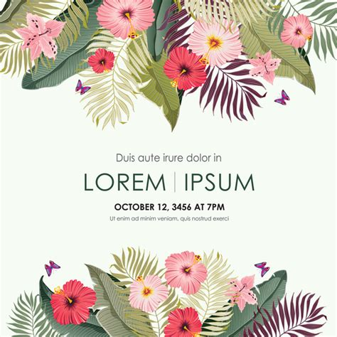 card template for flowers invitation flower vector images invitation sle and