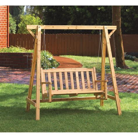 backyard swing bench weatherproof wood home patio garden decor bench swing ebay