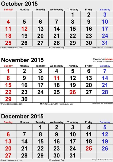 printable calendar november december january december 2015 calendars for word excel pdf