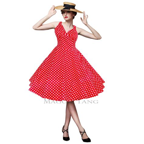 2015 new fashion maggie tang 50s 60s swing polka dot