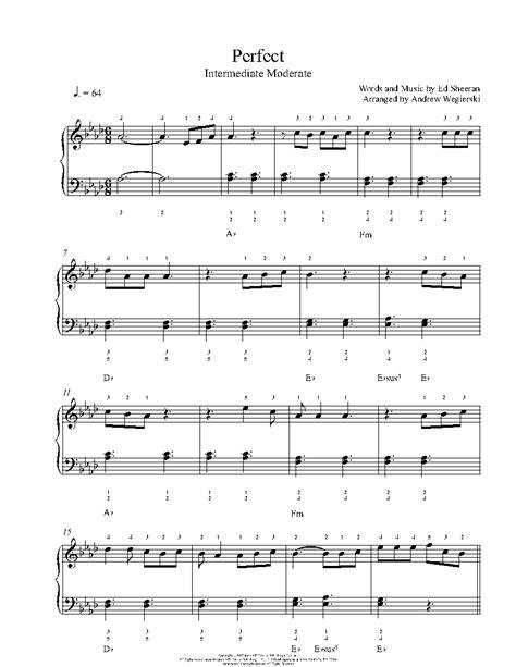 ed sheeran perfect keyboard perfect by ed sheeran piano sheet music intermediate level