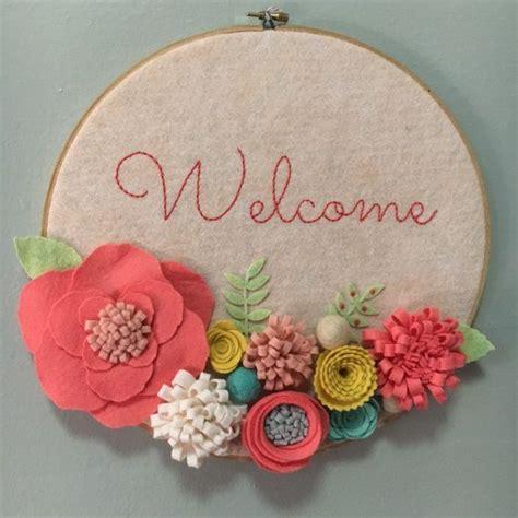 Welcome Sign Hoop embroidery hoop wall door sign welcome 3 d