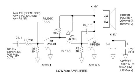 bipolar transistor guitar low voltage audio lifier