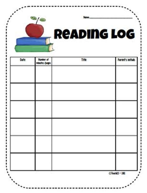 kindergarten reading log template 93 best reading writing logs for images on