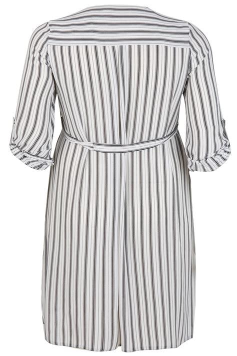 Black Stripe Waist Dress black white stripe zip front dress with waist tie plus