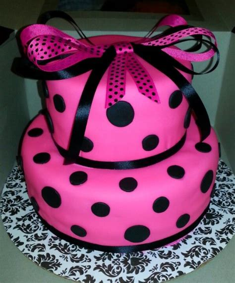 black and pink birthday cake hot pink black polka dot 2 tier birthday cake www