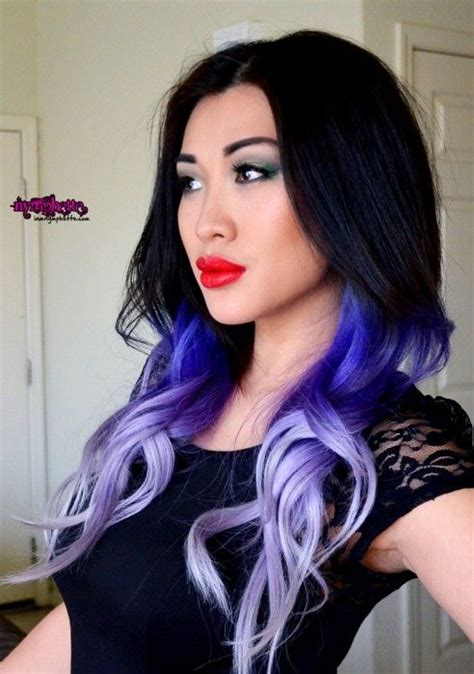 purple hair for asians purple ombre hair blue ombre hair asian red lips wet n