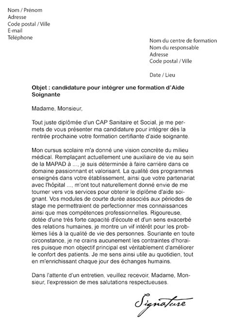 modele lettre de motivation formation aide soignante document