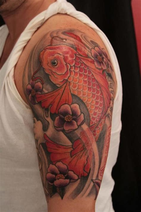 red koi fish tattoo designs koi fish on half sleeve tattoos