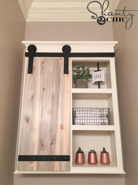 wood barn door storage cabinet diy sliding barn door bathroom cabinet shanty 2 chic