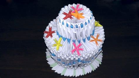 How To Make Paper Cake - 3d origami birthday cake pie tutorial