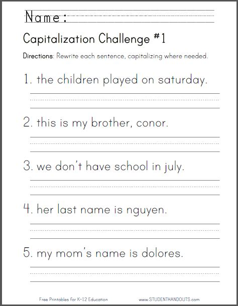 free printable english worksheets for primary 1 capitalization challenge 1 ccss for first grade l 1 2