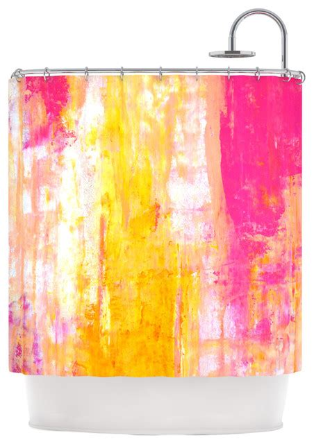 pink and yellow curtains carollynn tice quot growing taller quot pink yellow shower curtain