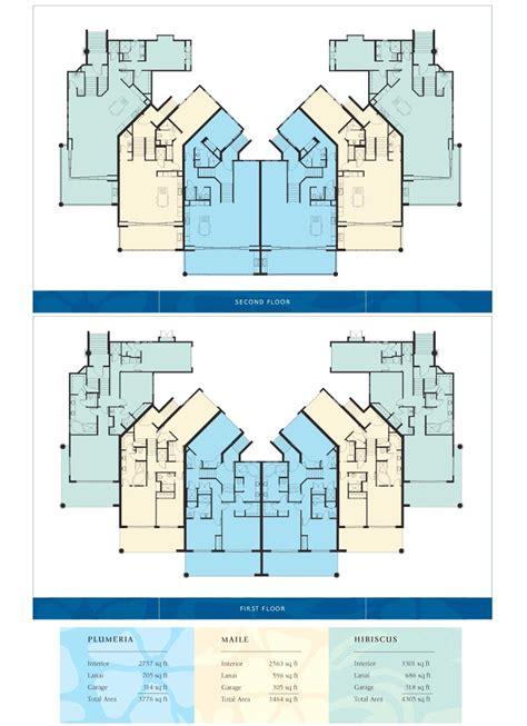 Two Story Home Floor Plans Ho Olei Wailea Maui