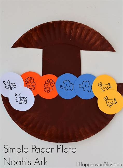 Paper Plate Bible Crafts - simple paper plate noah s ark