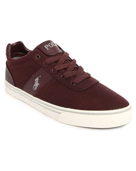 polo shoes for polo ralph hanford burgundy canvas sneakers in