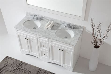 60 inch double bathroom vanity in white with marble top