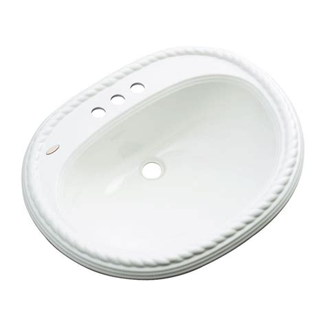 home depot drop in bathroom sinks malibu drop in bathroom sink with faucet hole in white