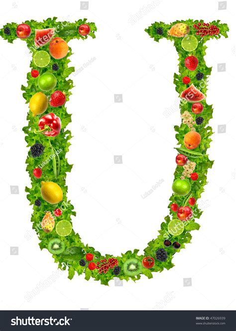 u vegetables fruit and vegetable letter u stock photo 47026939