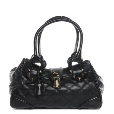 Burberry Quilted Leather Satchel by Burberry Quilted Leather Satchel Black 64063