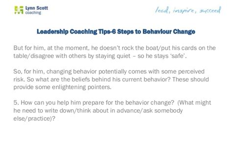 9 Steps To Behaviour by Leadership Coaching Tips 6 Steps To Behaviour Change
